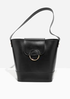 ba9af1d271  amp  Other Stories image 1 of Leather Bucket Bag in Black Leather  Backpack