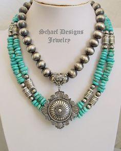 Schaef Designs Southwestern Turquoise & Sterling Silver bench & tube bead necklace set | New Mexico