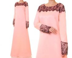 Bridal Satin Abaya, Peach Dress, Modest Evening Gown, Alternative Wedding Gown…