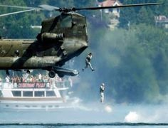 A-soldier-is-hovering-in-the-air-over-water