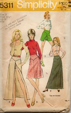 Simplicity 5311  1970s Misses Short Shorts and Deep Slit Skirt Mini Maxi Regular Length womens vintage sewing pattern by mbchills