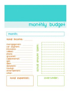 Monthly budget form