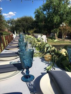 Green garland tables