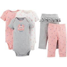 Child of Mine by Carter's Newborn Baby Girl Bodysuit and Pants 5-Piece Set - Walmart.com