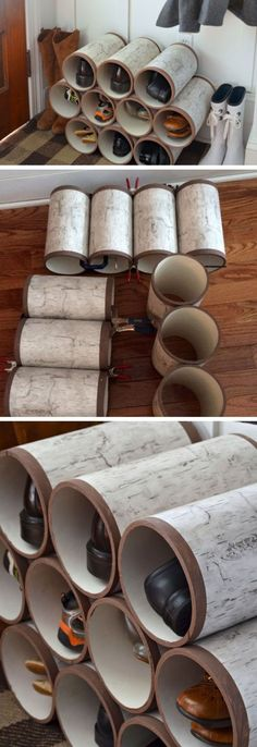 PVC Pipe Shoe Organizer | Click Pic for 18 DIY Shoe Storage Ideas for Small Spaces | DIY Shoe Organization for Small Closets