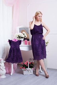 Items similar to Mommy and Me Outfits Dresses, Mother Daughter Matching Lace Dress, Purple Lace Matching Knee Length Party Dress Mom Daughter on Etsy Mommy And Me Dresses, Mommy And Me Outfits, Mom Dress, Kids Outfits, Lace Outfit, Dress Outfits, Lace Dress, Lace Skirt, Mom Daughter Photos
