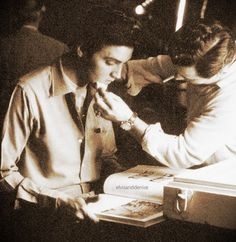 Getting some make up on, ready to shoot a scene - Elvis never left