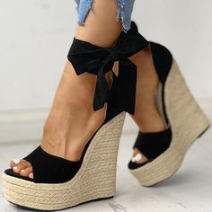 Sandal Type: Ankle-WrapSide Vamp Type: OpenOccasion: PartyClosure Type: Lace-UpBack Counter Type: Ankle StrapFashion Element: Platformheels height: about 16 cmplatform: about 6 cm Ankle Shoes, Lace Up Shoes, Shoe Boots, Dress Shoes, Platform High Heels, Platform Wedge Sandals, Heeled Sandals, Black Sandals, Wedge High Heels