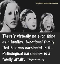 Pathological narcissism is a family affair. A narcissist parent scapegoats, abuses, divides and destroys; and a narcissist sibling is a competitive, lying, deceitful tyrant in training.