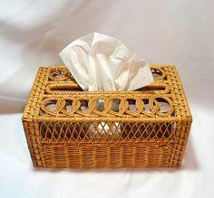 Wicker Kleenex Tissue Box  Rattan Box  Shabby by ChicMouseVintage