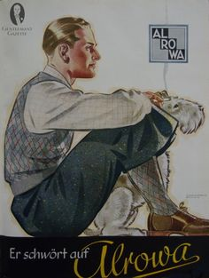 Ad for Alrowa. Note the matching of 3 patterns with the socks and vest being the same pattern. Brown saddle shoes must have been the latest thing  in Germany 1937