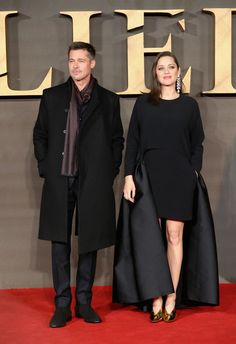 """Marion Cotillard Photos Photos - Brad Pitt and Marion Cotillard attend the UK Premiere of """"Allied"""" at Odeon Leicester Square on November 21, 2016 in London, England. - 'Allied' - UK Premiere - Red Carpet Arrivals"""