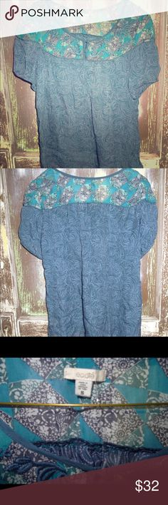NWOT Urban Outfitters Ecote Blue Sheer Silk Blouse NWOT Urban Outfitters Ecote Blue Sheer Floral Print Embroidered 100% Silk Blouse Top Small Urban Outfitters Tops Blouses