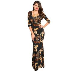 Chic and sophisticated, this printed maxi dress exudes confidence and beauty. Available in sultry black or playful red, this 3/4 sleeve maxi dress will be a lovely addition to your existing wardrobe.