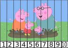 puzles de numeros pepa pig 1-10-2 Autism Activities, Kindergarten Activities, Preschool Activities, Activities For Kids, Peppa Pig Printables, Preschool Printables, Peppa Pig Games, Free Printable Puzzles, Old Teacher