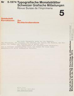 TM SGM RSI, Typografische Monatsblätter, issue 5, 1974. Cover designer: Wolfgang Weingart