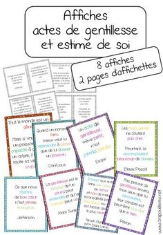 to support my project on self-esteem and acts of kindness … – Education Subjects Teaching French, French Classroom, School Classroom, Poster S, Thing 1, Education Quotes, Social Skills, Self Esteem, Socialism