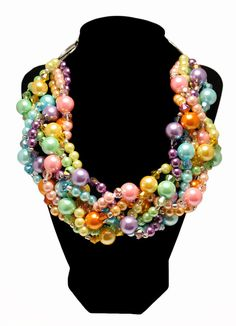 Ready for Easter and Spring! All pastel, all handmade...what a perfect statement necklace for the warmer weather!     TWISTED Statement Necklace Pastel Easter Pink by JewelryByJessicaT,