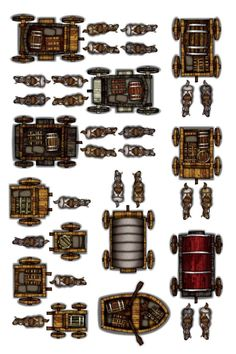Object Sheets - Carts and Carriages — Arcknight Dungeons And Dragons Miniatures, Dungeons And Dragons Game, Dungeons And Dragons Homebrew, Fantasy Map Making, Pathfinder Maps, Pen & Paper, Rpg Map, Map Icons, Dnd 5e Homebrew