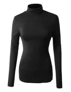 LE3NO Womens Solid Long Sleeve Turtleneck Shirt with Stretch
