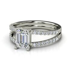 Emerald-Cut Diamond 14K White Gold Ring with Diamond   Samantha Ring   Gemvara