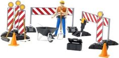 Bruder Bworld Construction Set with Man (Colors May Vary). The bworld construction set is particularly well suited, for instance, to set up a road construction site. All elements necessary to secure the site are included. Construction Machines, Road Construction, Baby Toys, Kids Toys, Tool Belt, Family Adventure, Wheelbarrow, Little Ones, Action Figures