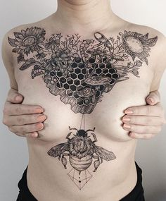Beehive and bee chest tattoo