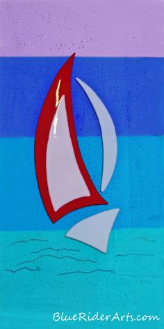 Fused glass - Modern sailboat