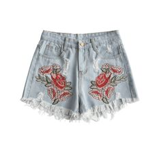 Ripped Floral Embroidered Denim Shorts