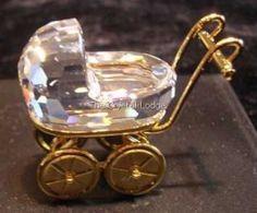 Swarovski SWAROVSKI CRYSTAL MEMORIES - BABY CARRIAGE / PRAM GOLD 172301   Swarovski Crystal