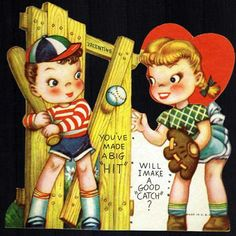Vintage Valentine Children Playing Softball 1950s - $8.50 : Vintage Collectibles Sewing Patterns Postcards Aprons Ephemera