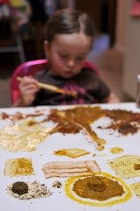 Spice painting!  Bet it smells great! - Re-pinned by #PediaStaff.  Visit http://ht.ly/63sNt for all our pediatric therapy pins