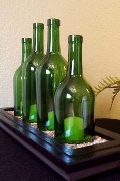 Wood and Glass Wine Bottles Hurricane Candle by StunningBottlesArt