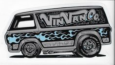 Here's a great new sticker by Zombie custom Ford Econoline Mods include grey and turquoise custom paint Flames and pin-striping Cragar SS Rims with big and little white-lettered tires X and ready to roll. Vintage Vans, Vintage Trucks, Old Trucks, Raiders, Vanz, Cool Vans, Truck Art, Busse, Vans Shop