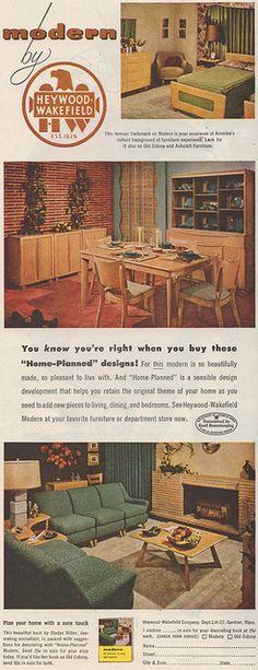 "Modern by Heywood Wakefield. ""Home Planned designs"" 1952"