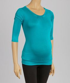 Another great find on #zulily! Blue Gathered Maternity Top #zulilyfinds