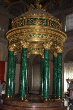 Gold and Malachite at the Hermitage, St. Petersburg, Russia Malachite is a semi precious gemstone.