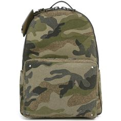 Valentino 'Rockstud' camouflage backpack (2,877 CAD) ❤ liked on Polyvore featuring men's fashion, men's bags, men's backpacks, green and mens leather backpack