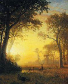 Lumière dans la forêt, huile sur toile de Albert Bierstadt (1830-1902, Germany)