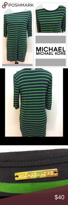 """M MICHAEL KORS green/navy striped shirt dress Brand: Michael Kors  Style: shirt dress or tunic  Measurements: pit to pit 18.5"""" shoulder to hem 31"""" waist flat 17.5"""" Size: medium  Material: 95% rayon 5% spandex Features: comfy stretch material in bold stripes, 3/4 sleeves, MK name plate on back of neck Condition: VGUC MICHAEL Michael Kors Dresses"""