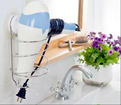 Stainless Steel Strong Suction Hair Dryer Holder Rack Shelf $9.98