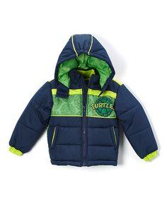 Green & Navy Teenage Mutant Ninja Turtle Puff Coat - Toddler by Teenage Mutant Ninja Turtles #zulily #zulilyfinds