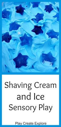 Play Create Explore: Shaving Cream and Ice Messy Sensory Play Drawing for Kids CWinter Activities for Kids Nursery Activities, Sensory Activities, Winter Activities, Infant Activities, Activities For Kids, Camping Activities, Indoor Activities, Color Blue Activities, Sensory Tubs