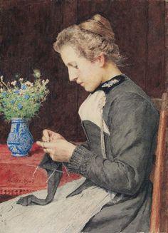 """Albert Anker """"Strickende junge Frau mit Blumenstrauss"""""""