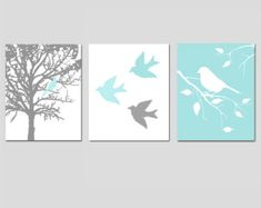 Modern Bird Trio Set of Three 8x10 Prints Nursery by Tessyla