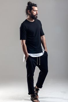 Long tee black and white Soft cotton pants