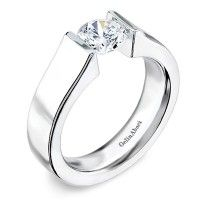TR-005 BY GELIN ABACI 14kt White Gold( Solitaire ) - Simple, yet striking 5mm wide Tension ring.
