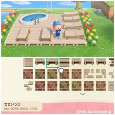 acnl home inspiration QR acnh Animal Crossing 3ds, Animal Crossing Villagers, Animal Crossing Qr Codes Clothes, Animal Crossing Pocket Camp, Deck Patterns, Floor Patterns, Animal Games, My Animal, Motif Tropical
