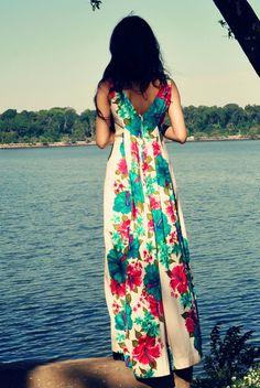 60 de hermoso vestido largo hawaiano con patrón Floral Hibiscus vestido Vintage