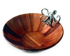 Octopus Pewter and Acacia Wood Salad Bowl